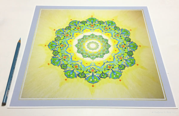 "Chartreuse, yellow & 24 kt gold gilded arabesque mandala illumination 12"" x 12"" - Color & Gold LLC © Bridgette Kelling"