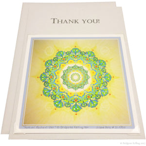 "Green, yellow & 24 kt gold gilded thank you card with a removable 4""x4"" ""Forever Radiant Star"" illumination - Color & Gold LLC © Bridgette Kelling"