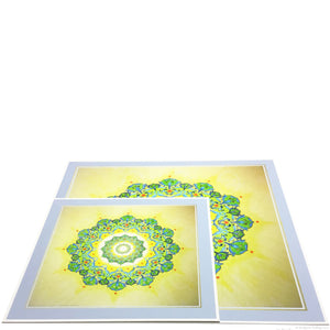 Chartreuse, yellow & 24 kt gold gilded arabesque mandala illuminations - Color & Gold LLC © Bridgette Kelling