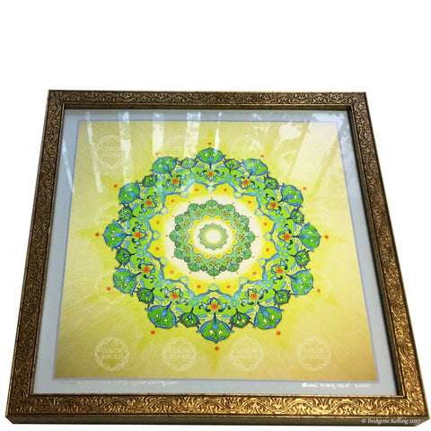 "Framed green & yellow mandala with 23 kt gold gilding, #1 of 500, ""Forever Radiant Star"" size 12""x12"" - Color & Gold LLC © Bridgette Kelling"