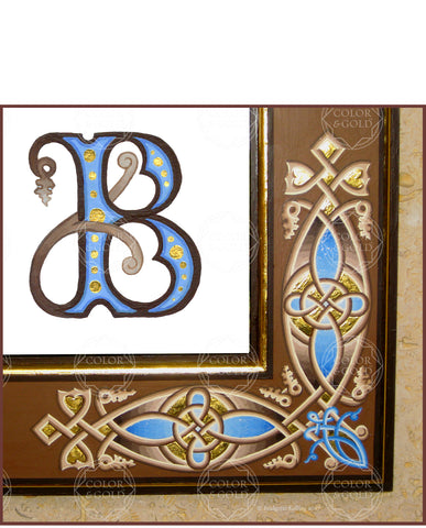Painted & gold gilded ornamental frame & calligraphic letter in blue & brown - Color & Gold LLC © Bridgette Kelling