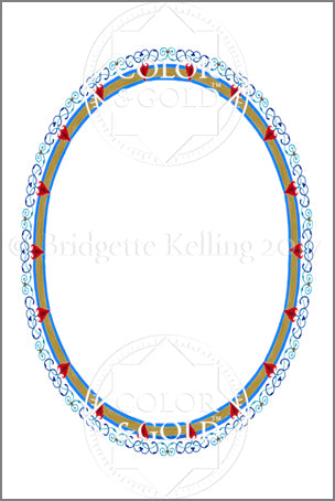 "4""x6"" Heart Oval Border - Color & Gold LLC © Bridgette Kelling"