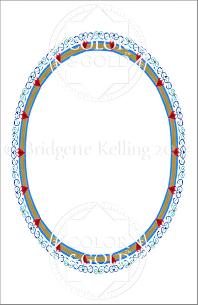 "5.5""x8.5"" Heart Oval Border - Color & Gold LLC © Bridgette Kelling"
