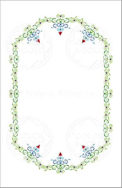 "5.5""x8.5"" Hearts & Vines Border - Color & Gold LLC © Bridgette Kelling"