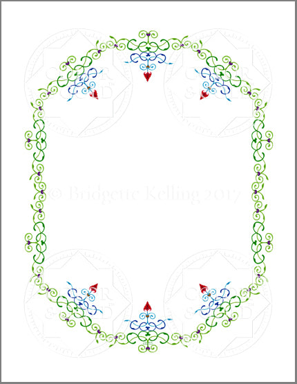 "8.5""x11"" Hearts & Vines Border - Color & Gold LLC © Bridgette Kelling"