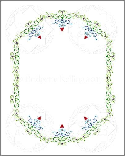 "8""x10"" Hearts & Vines Border - Color & Gold LLC © Bridgette Kelling"