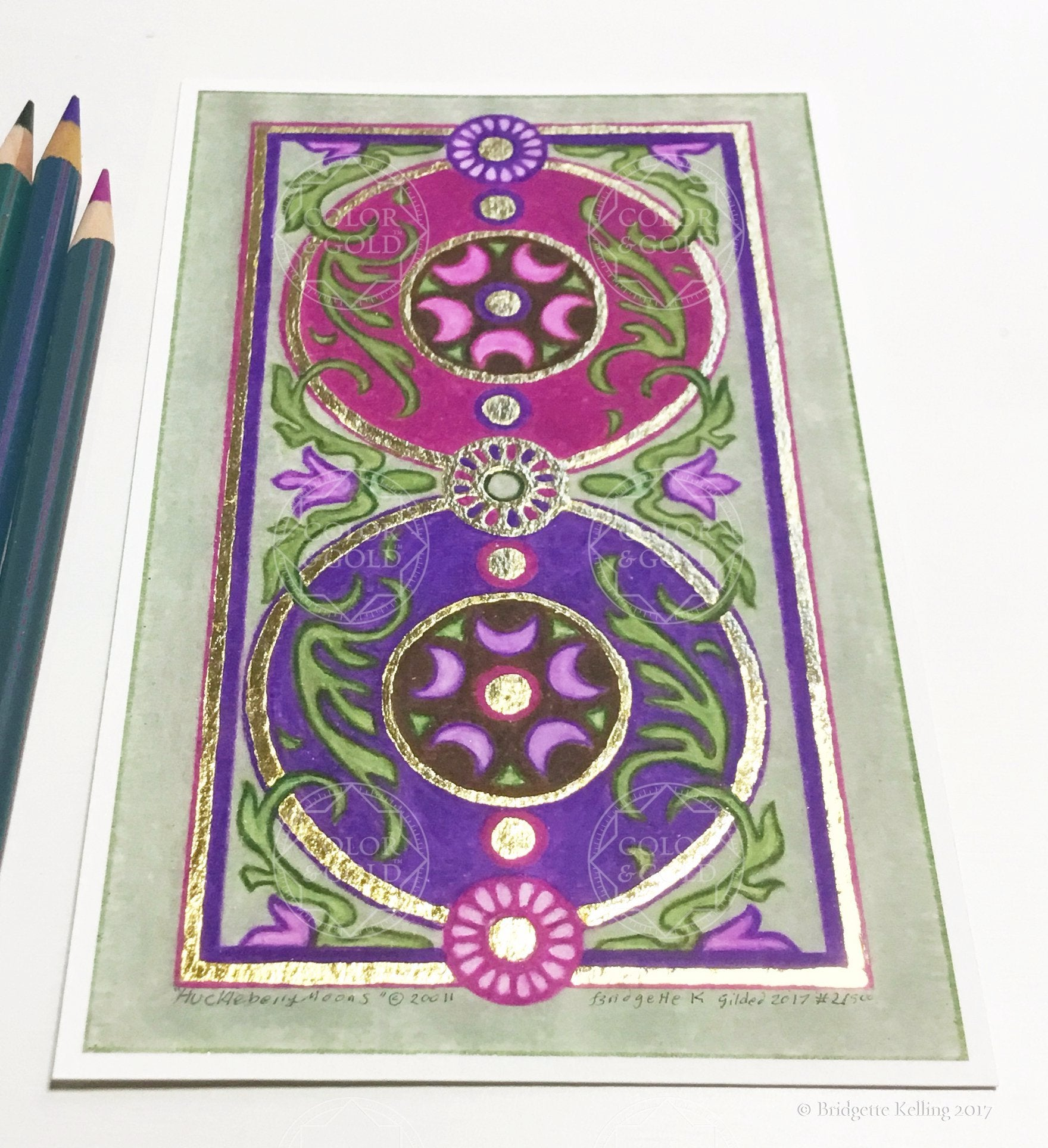 "Green, purple & mulberry Medieval floral design illumination with 24 kt gold gilding 4""x6.5"" - Color & Gold LLC © Bridgette Kelling"