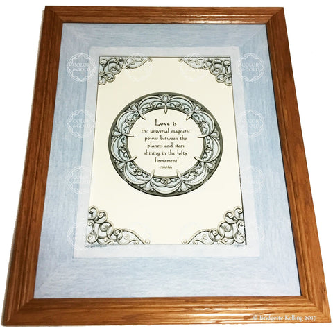 "Framed grey & light blue illuminated love quotation, 12.5""x15.5"" - Color & Gold LLC © Bridgette Kelling"