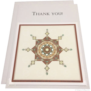 "Brown, green & 24 kt gold gilded thank you card with a removable 4""x4"" ""Kingwood"" illumination - Color & Gold LLC © Bridgette Kelling"