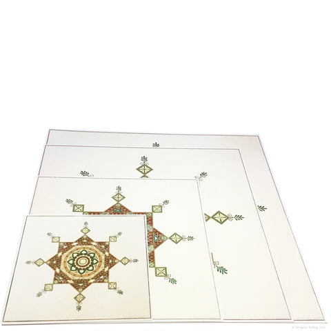 "Brown, green & 24 kt gold gilded Moorish design ""Kingwood"" illuminations - Color & Gold LLC © Bridgette Kelling"
