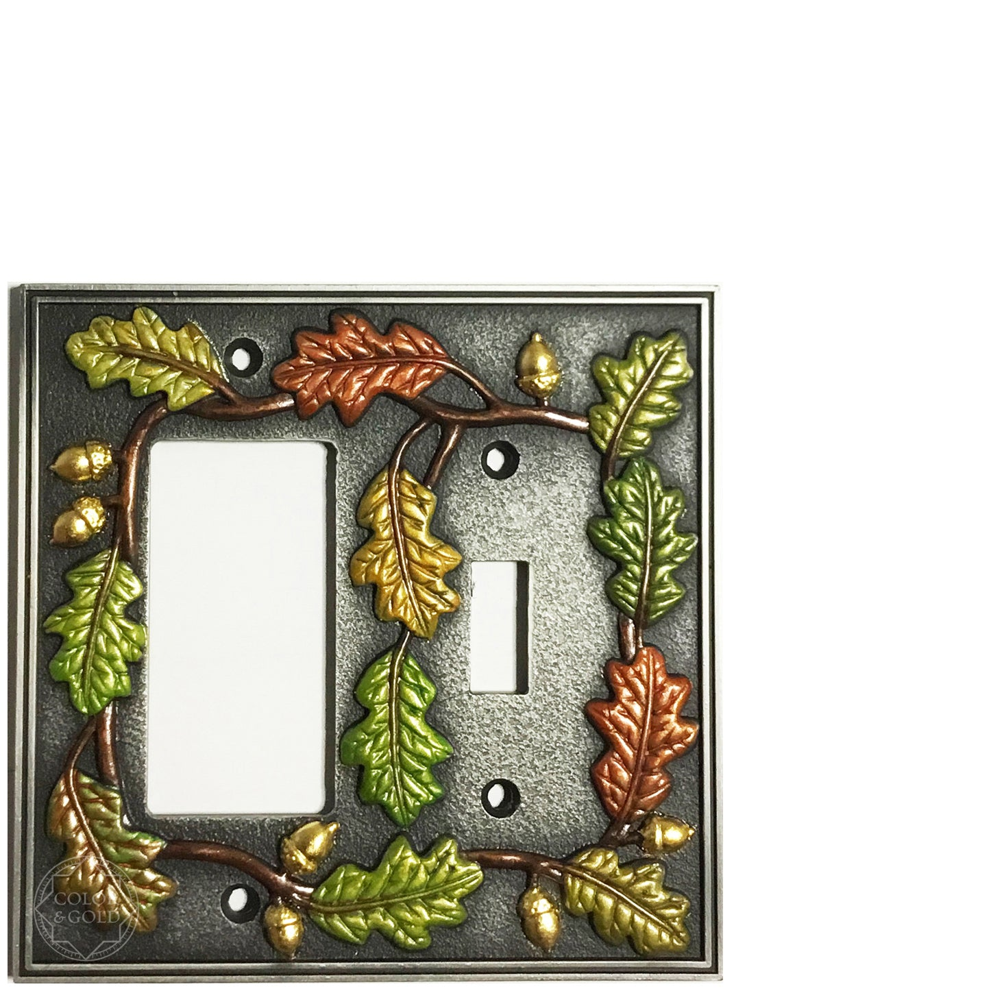 "One-of-a-Kind oak design 24 kt gold gilded & painted toggle & switch plate, 4 15/16"" x 4 7/8"" - Color & Gold LLC © Bridgette Kelling"