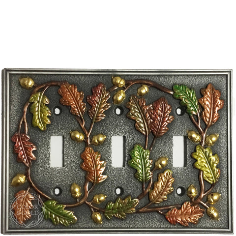 "One-of-a-Kind oak design 24 kt gold gilded & painted switch plate, 6 3/4"" x 4 7/8"" - Color & Gold LLC © Bridgette Kelling"