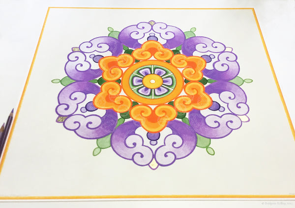 "Purple, orange & 24 kt gold gilded Chinese flower design illuminated artworks 18"" x 18"" - Color & Gold LLC © Bridgette Kelling"