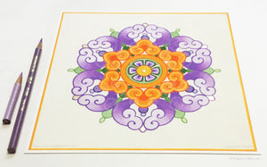 "Purple, orange & 24 kt gold gilded Chinese flower design illuminated artwork 8"" x 8"" - Color & Gold LLC © Bridgette Kelling"