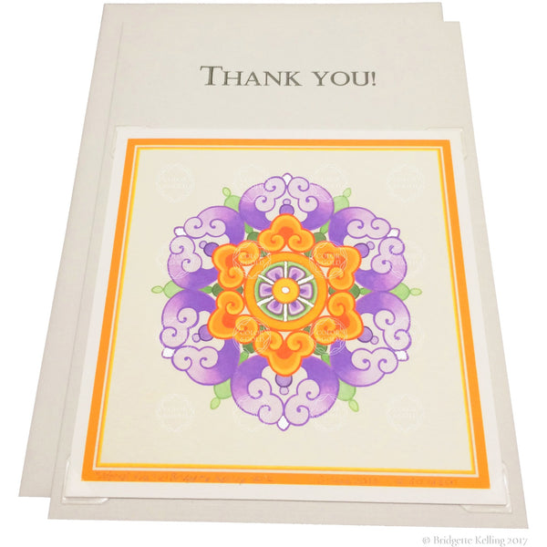 "Violet, orange & palladium gilded thank you card with a removable 4""x4"" ""Neroli Hua"" illumination - Color & Gold LLC © Bridgette Kelling"