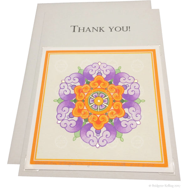 "Violet, orange & 24 kt gold gilded thank you card with a removable 4""x4"" ""Neroli Hua"" illumination - Color & Gold LLC © Bridgette Kelling"