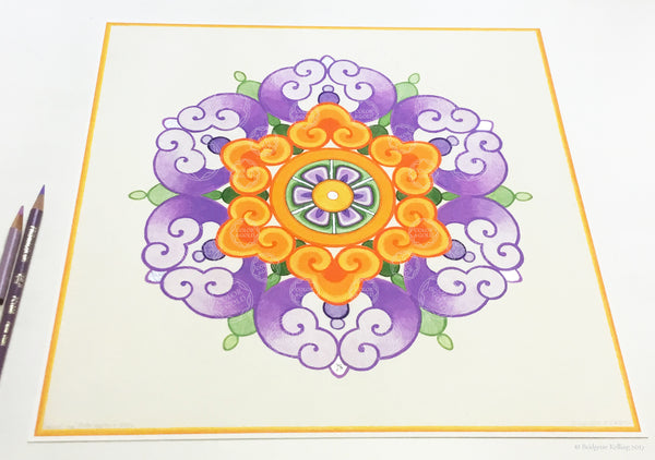 "Purple, orange & palladium gilded Chinese flower design illuminated artwork 12"" x 12"" - Color & Gold LLC © Bridgette Kelling"