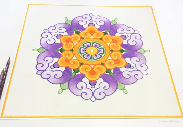 "Purple, orange & palladium gilded Chinese flower design illuminated artwork 16"" x 16"" - Color & Gold LLC © Bridgette Kelling"