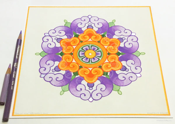 "Purple, orange & palladium gilded Chinese flower design illuminated artwork 8"" x 8""- Color & Gold LLC © Bridgette Kelling"