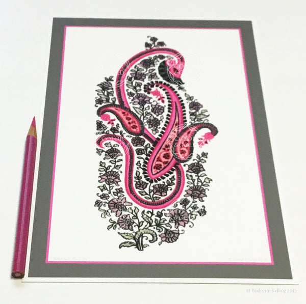 Pink & grey paisley design print with archival inks on pure cotton paper from an origional drawing - Color & Gold LLC © Bridgette Kelling