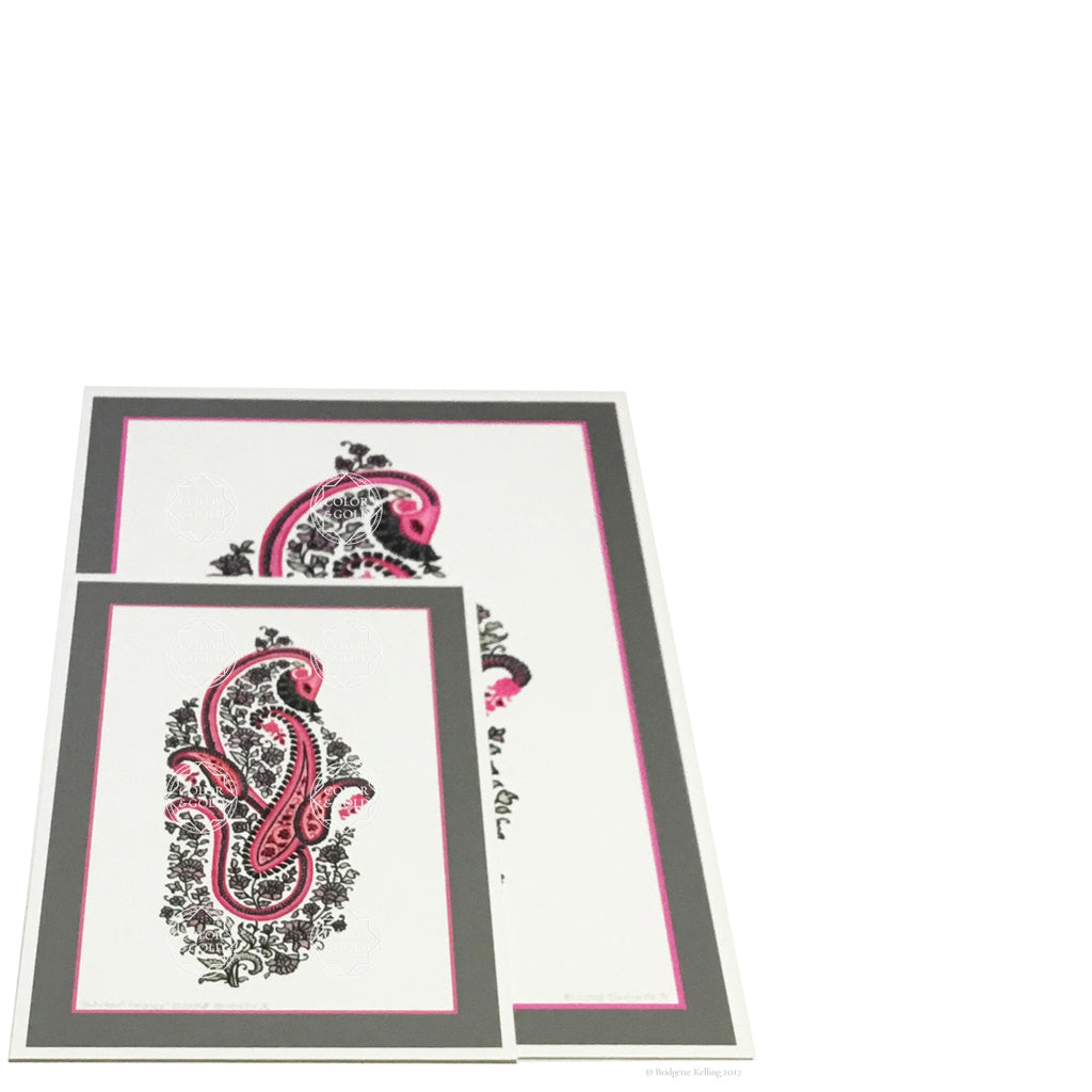 Pink & grey paisley designs print with archival inks on pure cotton paper in two sizes from an origional drawing - Color & Gold LLC © Bridgette Kelling