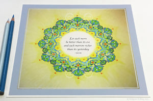 "Green, yellow & 24 kt gold gilded mandala with a Bahá'í quote on having a better day 8"" x 8"" - Color & Gold LLC © Bridgette Kelling"