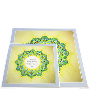 "Green, yellow & 24 kt gold & palladium gilded mandalas with a Bahá'í quote on having a better day 8"" x 8"" - Color & Gold LLC © Bridgette Kelling"