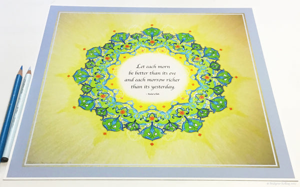 "Green, yellow & palladium gilded mandala with a Bahá'í quote on having a better day 12"" x 12"" - Color & Gold LLC © Bridgette Kelling"