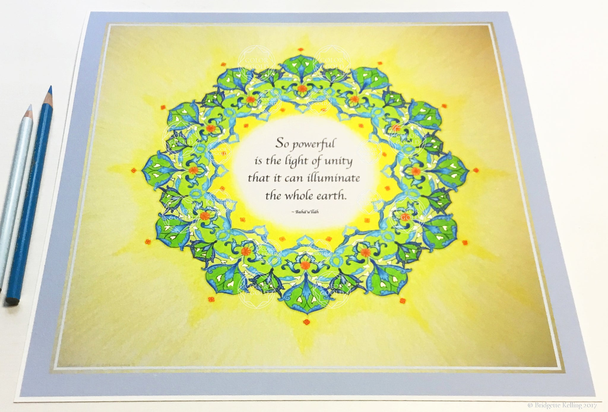 "Green, yellow & 24 kt gold gilded mandala with a Bahá'í quotation on unity 8"" x 8"" - Color & Gold LLC © Bridgette Kelling"
