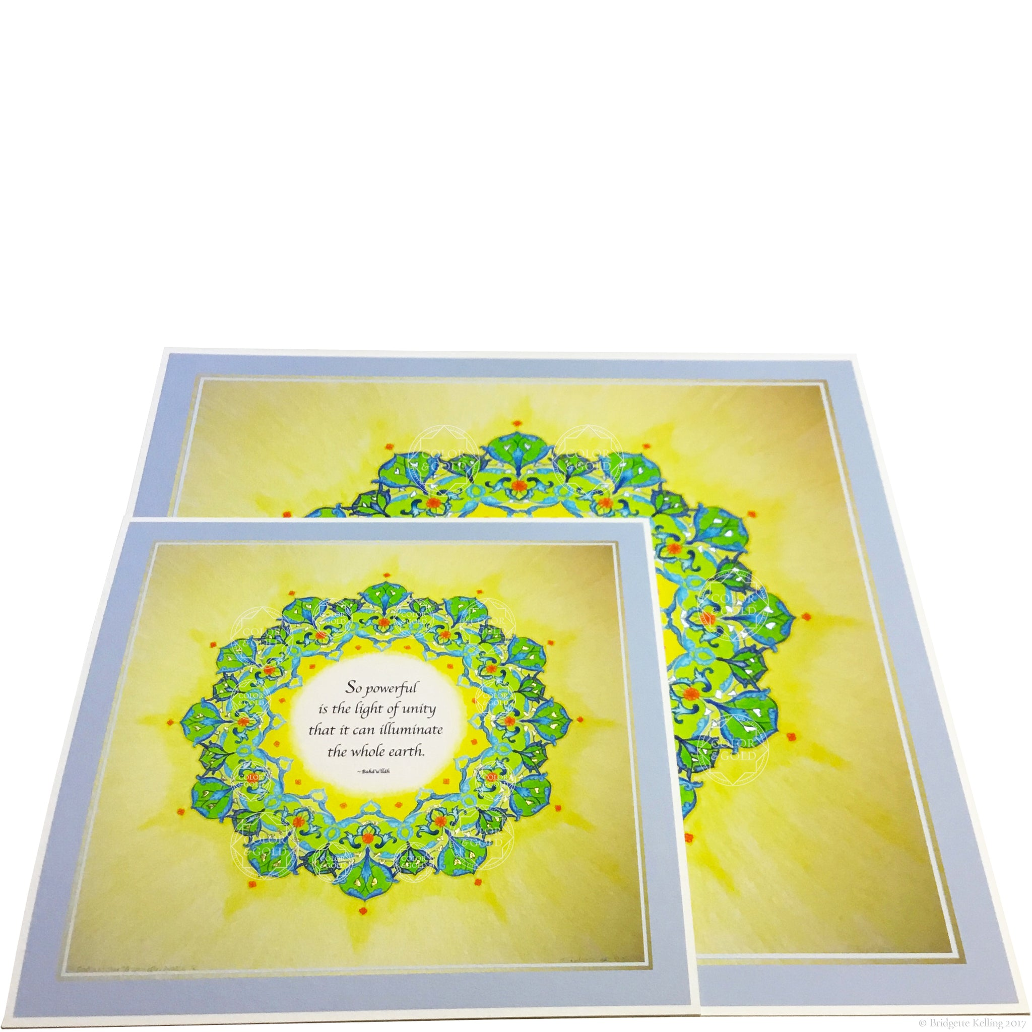 Green, yellow & 24 kt gold and palladium gilded mandalas with a Bahá'í quotation on unity - Color & Gold LLC © Bridgette Kelling
