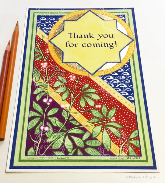 "Blue, red, green, mulberry & 24 kt gold gilded specialty ""Thank you for coming!"" sign on cotton paper - Color & Gold LLC © Bridgette Kelling"