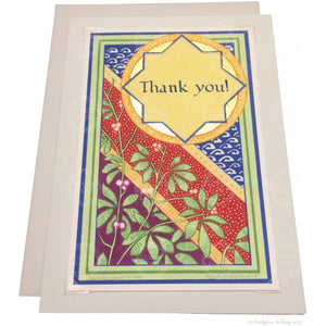 "Blue, red, green, mulberry & gold gilded thank you card with a removable ""Rambutan"" illumination - Color & Gold LLC © Bridgette Kelling"