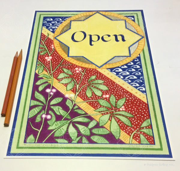 "Blue, red, green, mulberry & 24 kt gold gilded specialty ""Open"" sign on cotton paper - Color & Gold LLC © Bridgette Kelling"