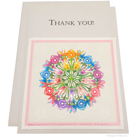 "Rainbow colored & 24 kt gold gilded thank you card with a removable 4""x4"" ""Returning Meadow 9"" illumination - Color & Gold LLC © Bridgette Kelling"