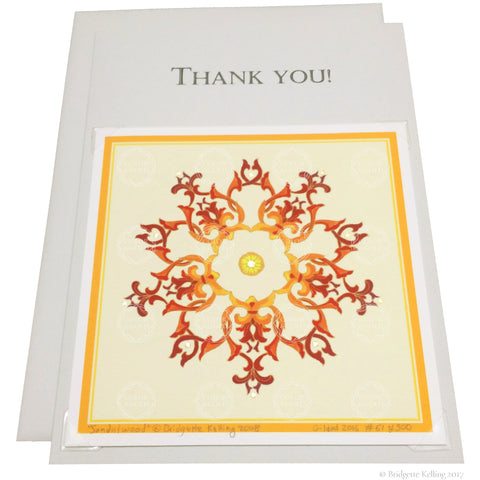 "Orange & 24 kt gold gilded thank you card with a removable 4""x4"" ""Sandalwood Star Cream"" illumination - Color & Gold LLC © Bridgette Kelling"