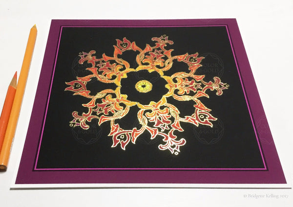 "Orange, black, mulberry & 24 kt gold gilded ""Sandalwood Star Black"" fine home decor illumination 12"" x 12"" - Color & Gold LLC © Bridgette Kelling"