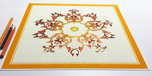 "Orange & 24 kt gold gilded ""Sandalwood Star Cream"" fine home decor illumination 12"" x 12"" - Color & Gold LLC © Bridgette Kelling"
