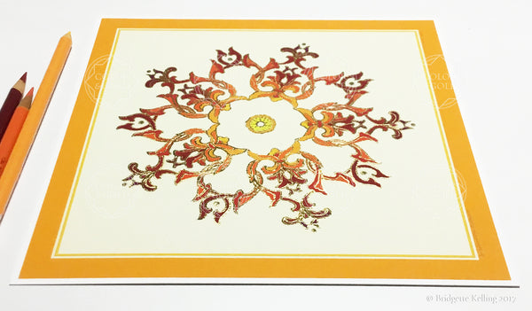 "Orange & 24 kt gold gilded ""Sandalwood Star Cream"" fine home decor illumination 8"" x 8"" - Color & Gold LLC © Bridgette Kelling"