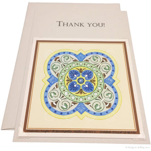 "Blue, green & palladium gilded thank you card with a removable 4""x4"" ""Silver Sage"" illumination - Color & Gold LLC © Bridgette Kelling"