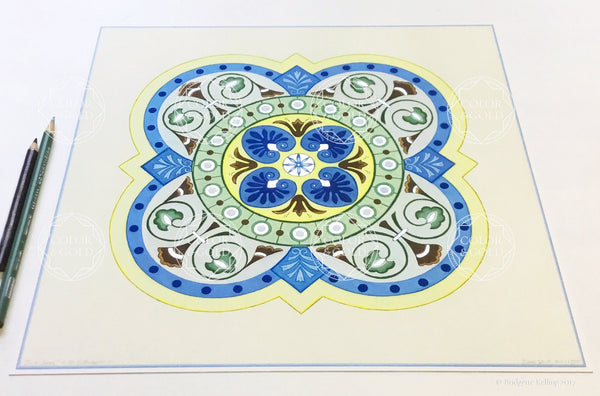 "Blue, green, yellow & palladium gilded tile design ""Silver Sage"" illumination 12"" x 12"" - Color & Gold LLC © Bridgette Kelling"