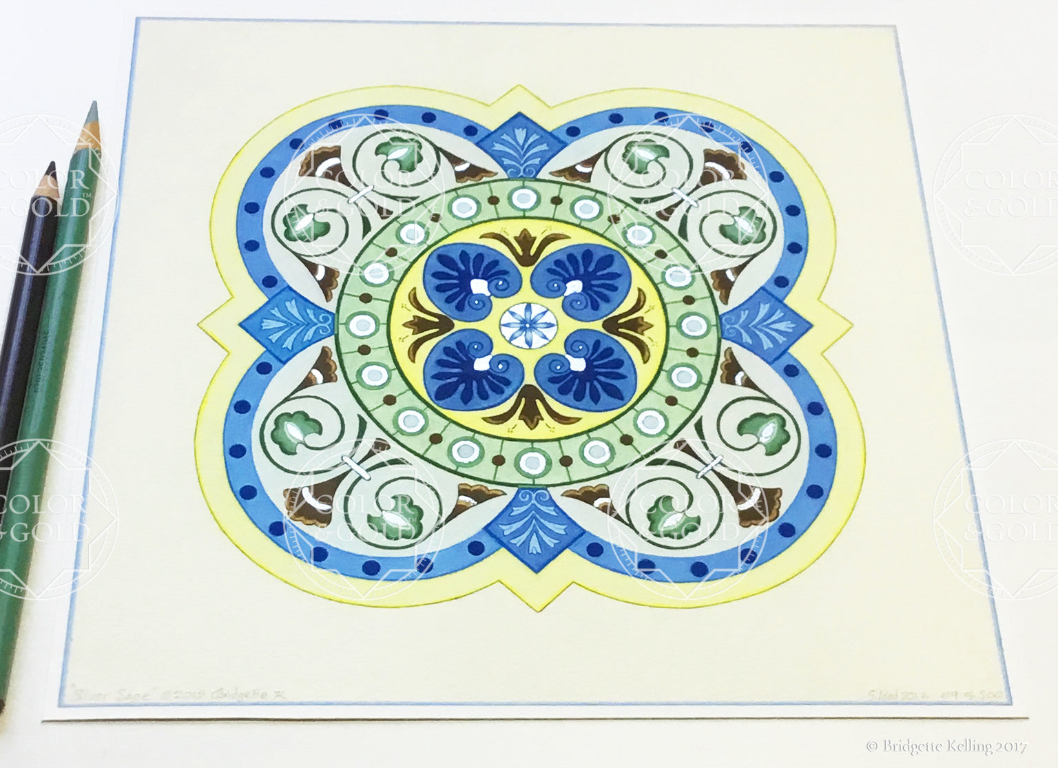 "Blue, green, yellow & palladium gilded tile design ""Silver Sage"" illumination 8"" x 8"" - Color & Gold LLC © Bridgette Kelling"