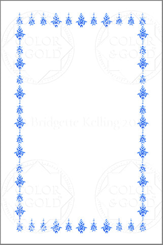 "4""x6"" Blue Stencil Border - Color & Gold LLC © Bridgette Kelling"