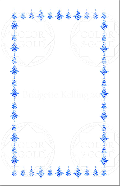 "5.5""x8.5"" Blue Stencil Border - Color & Gold LLC © Bridgette Kelling"