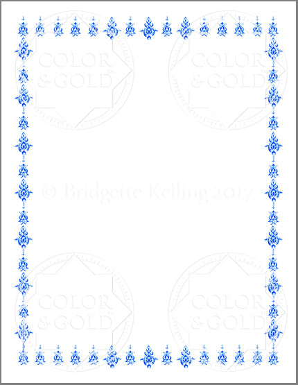 "8.5""x11"" Blue Stencil Border - Color & Gold LLC © Bridgette Kelling"
