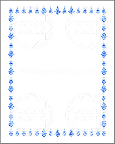 "8""x10"" Blue Stencil Border - Color & Gold LLC © Bridgette Kelling"