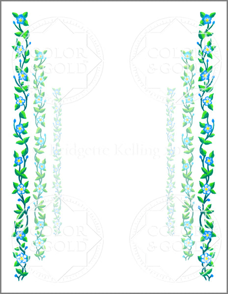 "8.5""x11"" Vine Path Border - Color & Gold LLC © Bridgette Kelling"