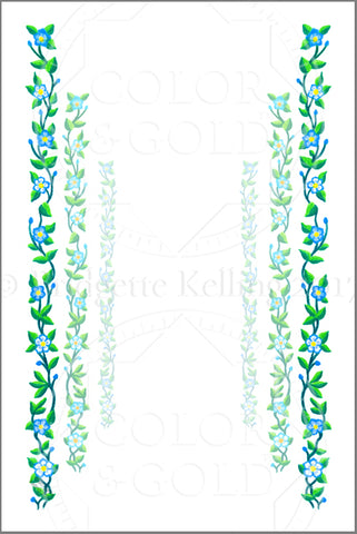 "4""x6"" Vine Path Border - Color & Gold LLC © Bridgette Kelling"