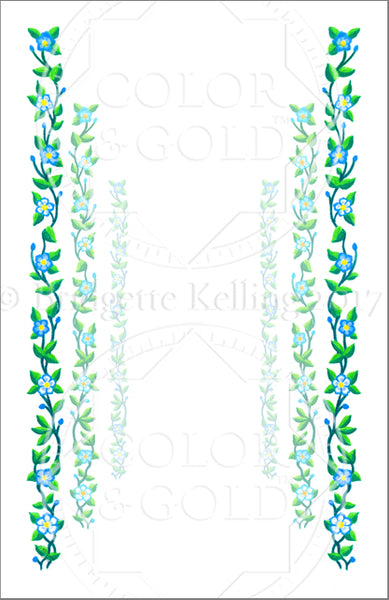 "5.5""x8.5"" Vine Path Border - Color & Gold LLC © Bridgette Kelling"