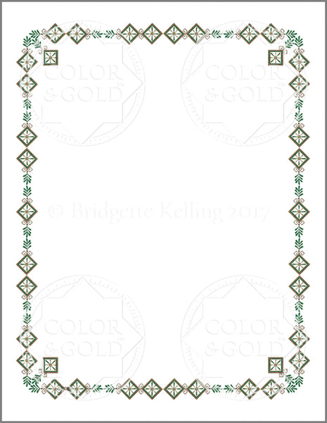 "8.5""x11"" Branch Green Border - Color & Gold LLC © Bridgette Kelling"