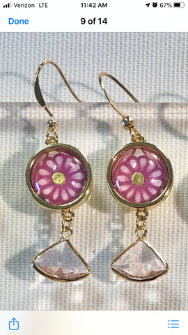 Copy Color & Gold Returning Meadow 9 pink flower earrings